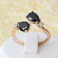 002-2512 - Кольцо с чёрными и прозрачными фианитами розовая позолота, 18-18.5 р