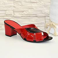 Сабо женские лаковые на невысоком каблуке, цвет черный и красный.