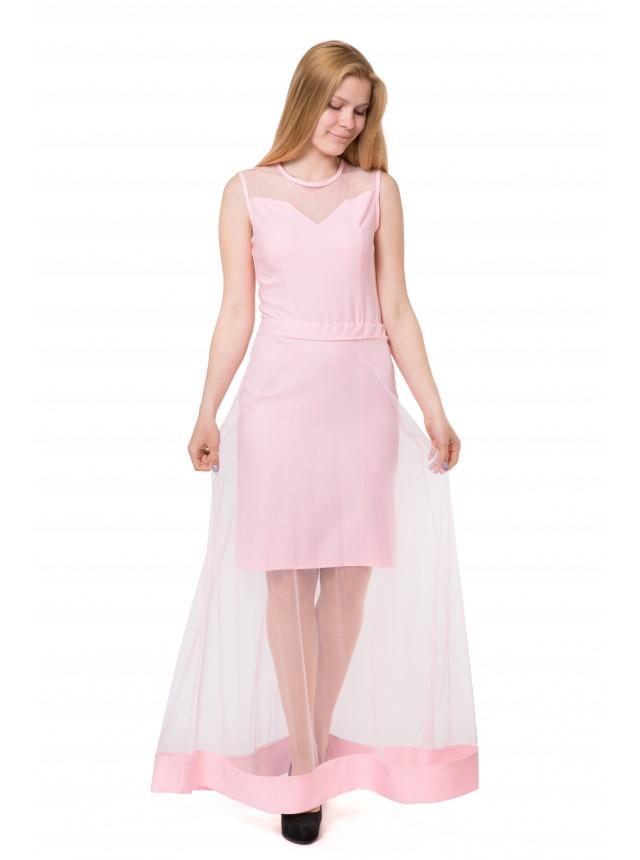 Платье двойка + футляр юбка с сеткой