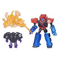 Трансформеры Роботы Под Прикрытием Оптимус Прайм и миникон Bludgeon. Оригинал Hasbro