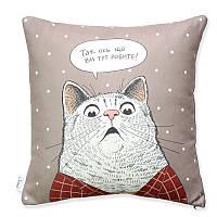 """Подушка """"Удивленный кот"""" бежевая"""