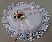 Свадебная круглая подушка под кольца № 1 (розовая)