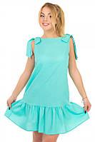 Платье Лён с бантиком мята S-L размеры SV  17-35-10