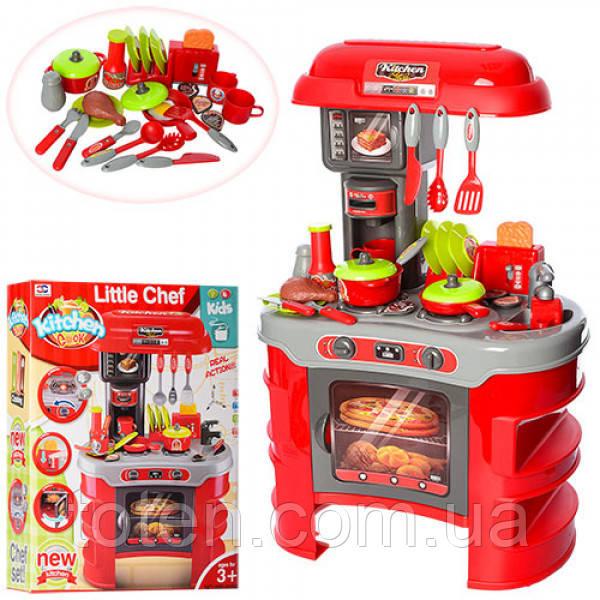 Кухня красная с посудкой 008-908 кофеварка, тостер, продукты и аксессуарами, свет, звук, игровой