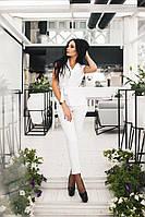 Стильный женский костюм жилет и брюки белый