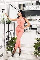 Стильный женский костюм жилет и брюки цвет персик