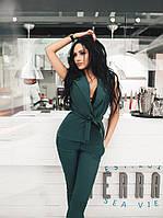 Стильный женский костюм жилет и брюки изумрудный