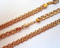 Цепочка на шею + браслет, плетение Двойной ромб 60 см. 21см