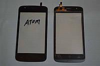 Оригинальный тачскрин / сенсор (сенсорное стекло) для Explay Atom (черный цвет, самоклейка)