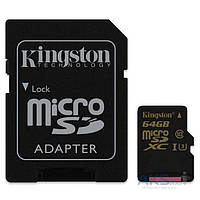 Карта памяти Kingston microSDXC 64GB Class 10 UHS-I U3 R90/W45MB/s 4K (с адаптером) (SDCG/64GB)