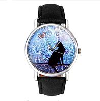 Часы женские наручные Кошка чёрные арт. 071