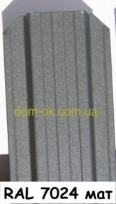 Металлический штакетник полукруглый и трапецевидный RAL 7024 матовый/грунт Европа 0,45 мм