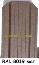 Металевий паркан напівкруглий і трапецевідний RAL 8019 матовий/грунт Європа 0,45 мм