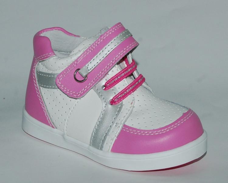 Демисезонные ботинки для девочек Calorie бело-розовые 25 р.