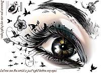 Наклейка виниловая Глаз с бабочками 3D декор