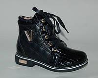 Демисезонные ботинки для девочек GFB черного цвета