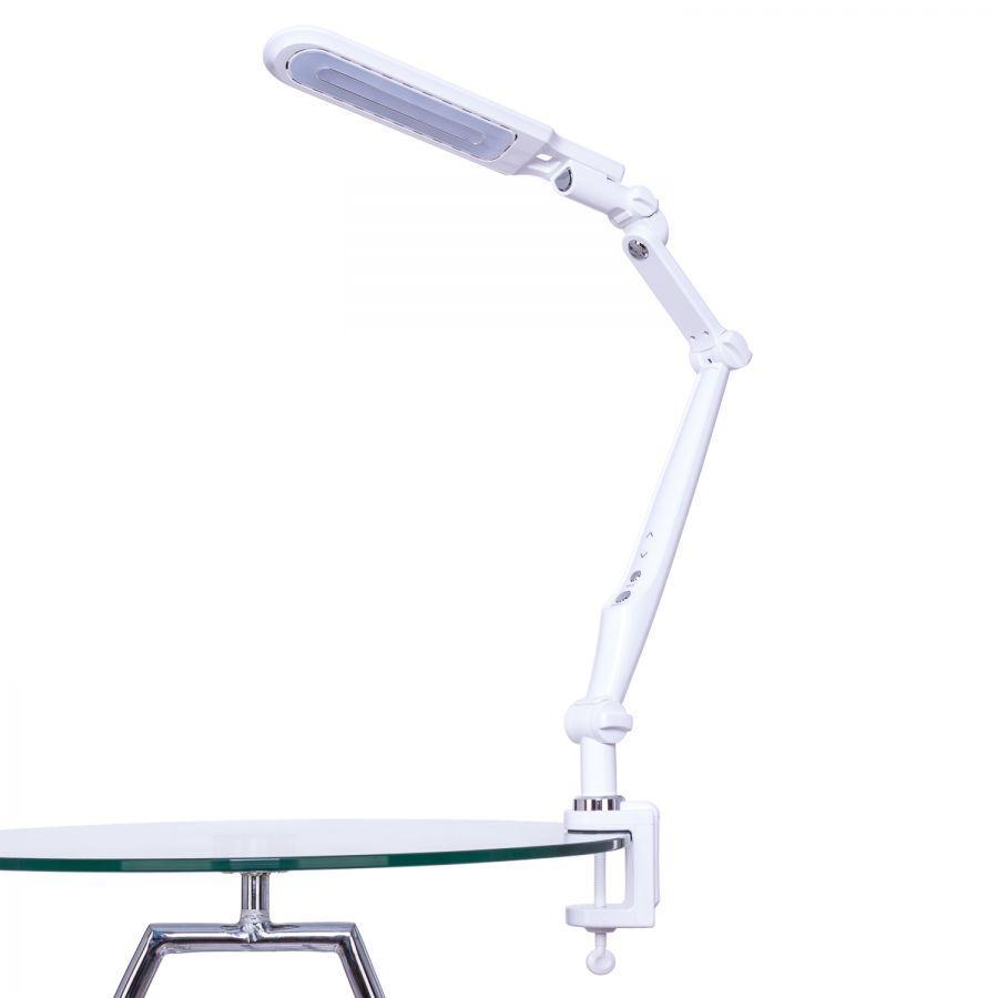 Светодиодная настольная лампа  SEAN  BL- 1107 10W на струбцине, белая, сенсор, диммер, Код.58907