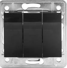Выключатель тройной без рамки черный металлик  EL-Bi Zena
