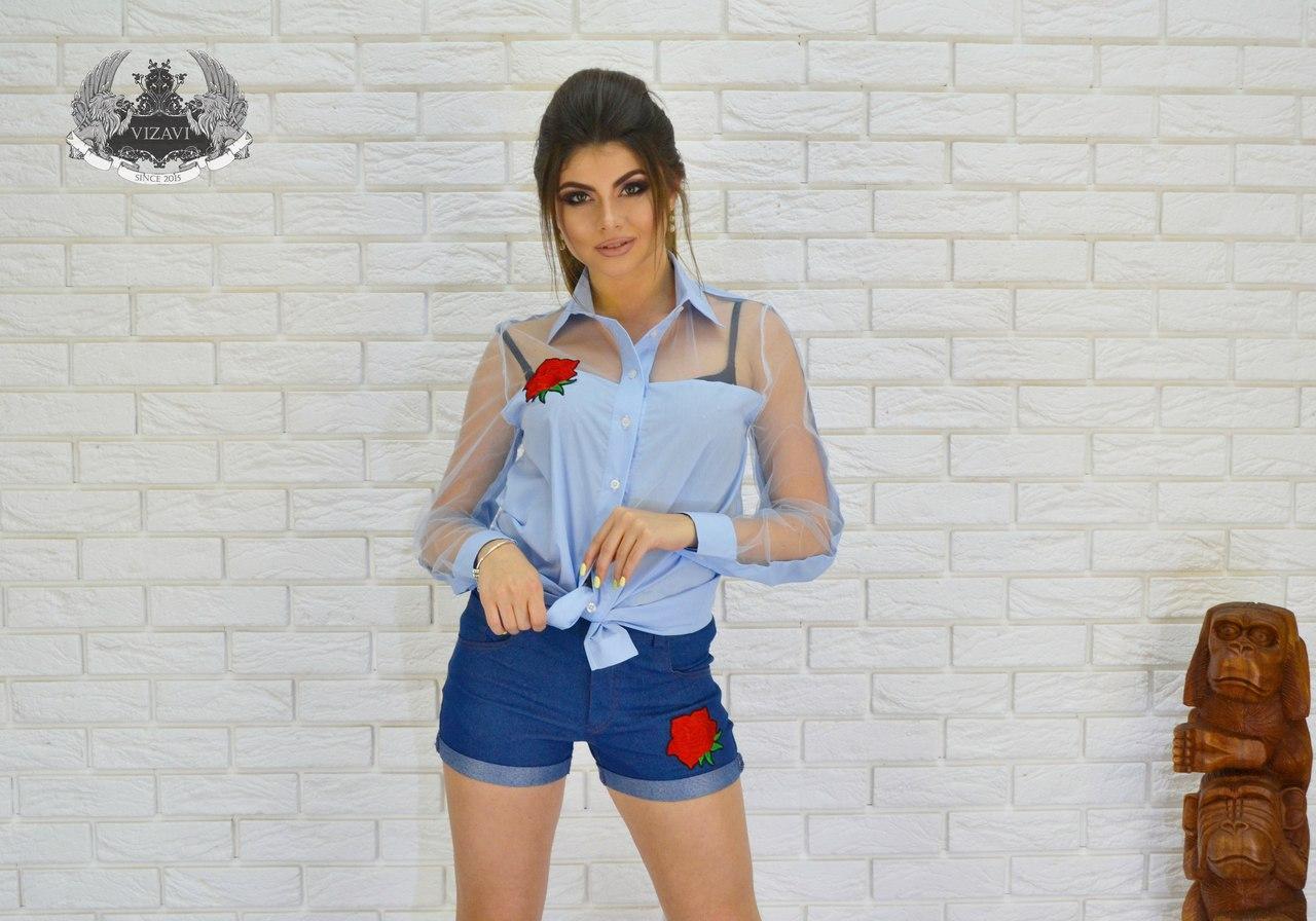 Рубашка женская с сеткой,вышивка роза.цвет 3 : белый , голубой ,черный