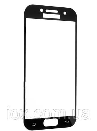 Защитное стекло FULL SCREEN в упаковке для Samsung A3 2017 глянец (черный)