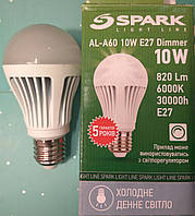 Светодиодная лампа диммируемая типа А60 Spark LED 10W 6000K для общего и декоративного освещения