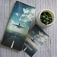 """Набор турконверт и обложка на паспорт для путешествий """"Самолет"""""""