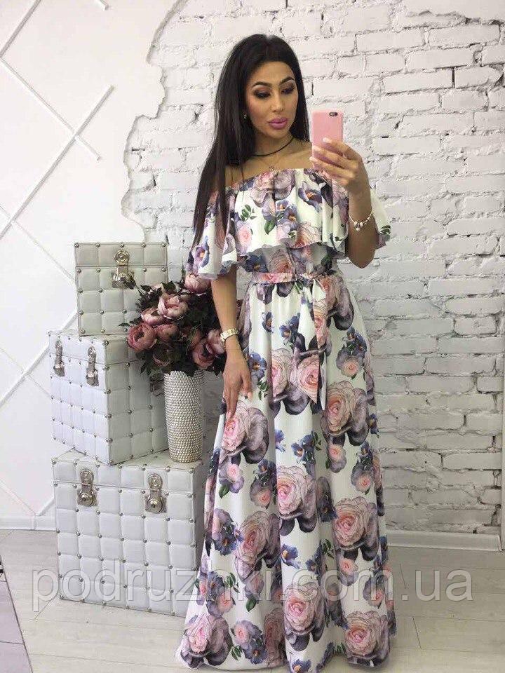 e014461a5faa8 Летнее женское платье в пол цветочный принт в расцветках: продажа ...