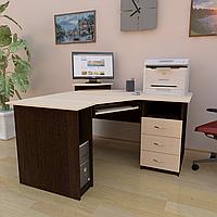 Стол компьютерный угловой с полкой под клавиатуру, системный блок и ящиками СУ-2