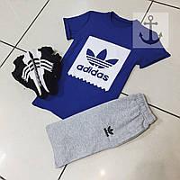 Шорты и футболка Adidas, синяя футболка и черные или серые шорты, хлопок, S, M, L, XL