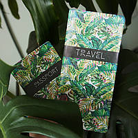 """Эксклюзивный набор для путешествий обложка на паспорт и турконверт """"Пальмовые листья"""""""