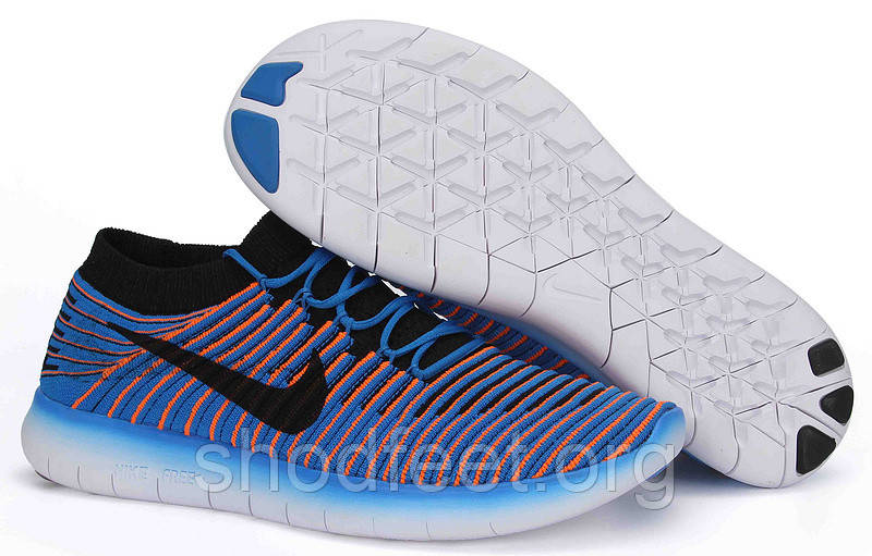 Кроссовки мужские Nike Free RN Motion Flyknit Blue Orange
