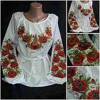 """Женская блузка с вышивкой """"Украинские маки с ромашкам"""", поплин, 42-56"""