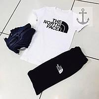 Шорты и футболка The North Face, белая футболка и черные шорты, хлопок, S, M, L, XL