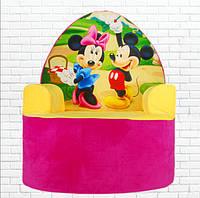 """Мягкое детское кресло """"Микки Маус и Минни Маус"""" 57 см, плюшевое кресло, 57 см."""