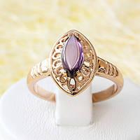 002-2522 - Кольцо с фиолетовой вставкой розовая позолота, 16 р.