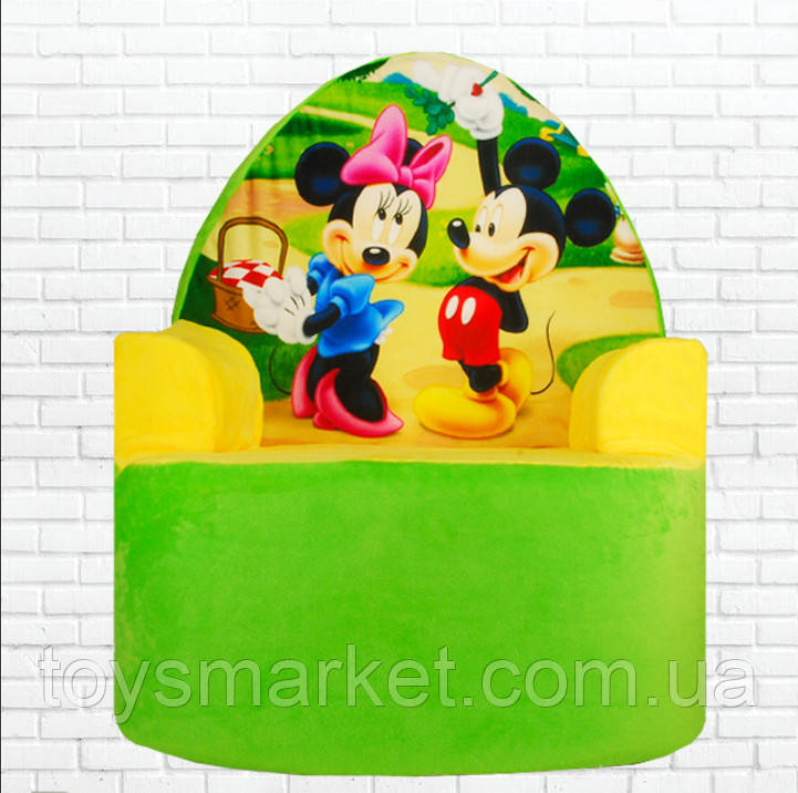 "Мягкое детское кресло ""Микки Маус и Минни Маус"", плюшевое кресло, кресло-игрушка, Mickey, Minni Mouse"