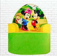 Детское мягкое кресло, Микки Маус,зеленое