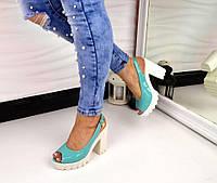 Женские босоножки на толстом каблуке цвет бирюза, 36 37 38 39 40р.