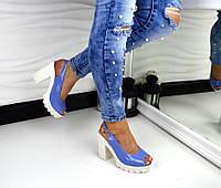 Женские босоножки на толстом каблуке цвет сиреневый, 36 37 38 40р.