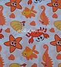 """Простынь """"Водный мир"""" оранжевого цвета,  в детскую кроватку размером 120*60., фото 2"""