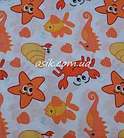 """Простынь """"Водный мир""""оранжевого цвета,  в детскую кроватку размером 120*60."""