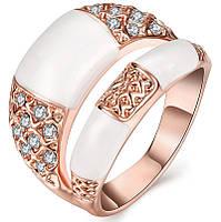 Кольцо Двойное белый камень цирконы покрытие золото 18К