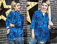Стильная блуза из штапеля с принтом