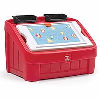 """Комод для игрушек и поверхность для творчества 2 в 1 """"Box & Art"""" 48х78х48 см красный Step 2"""