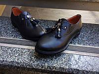 """Классические женские туфли """"Classic""""  чёрные кожаные, с кисточками на резинках"""