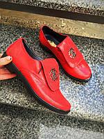 Туфли в стиле Rob Cavalli красные , натуральная кожа сатин