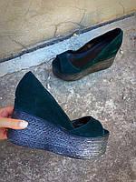 Туфли женские замшевые Glam, на танкетке, темно-зеленые