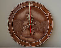 """Різьблений настінний годинник """"Млин"""" з патиною, фото 1"""