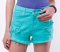 Короткие котоновые джинсовые женские шорты с потёртостями и дырками, завышенной талией тренд 2017 года