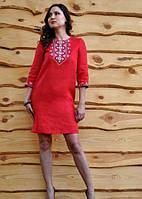 Платье-вышиванка прямого кроя с рукавом 3/4 Модель П07/12-261